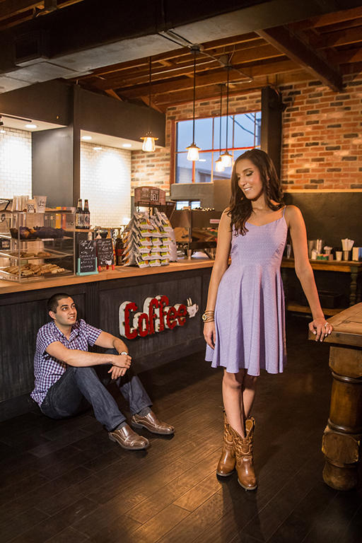 engagement photo shoot in coffee shop rgv