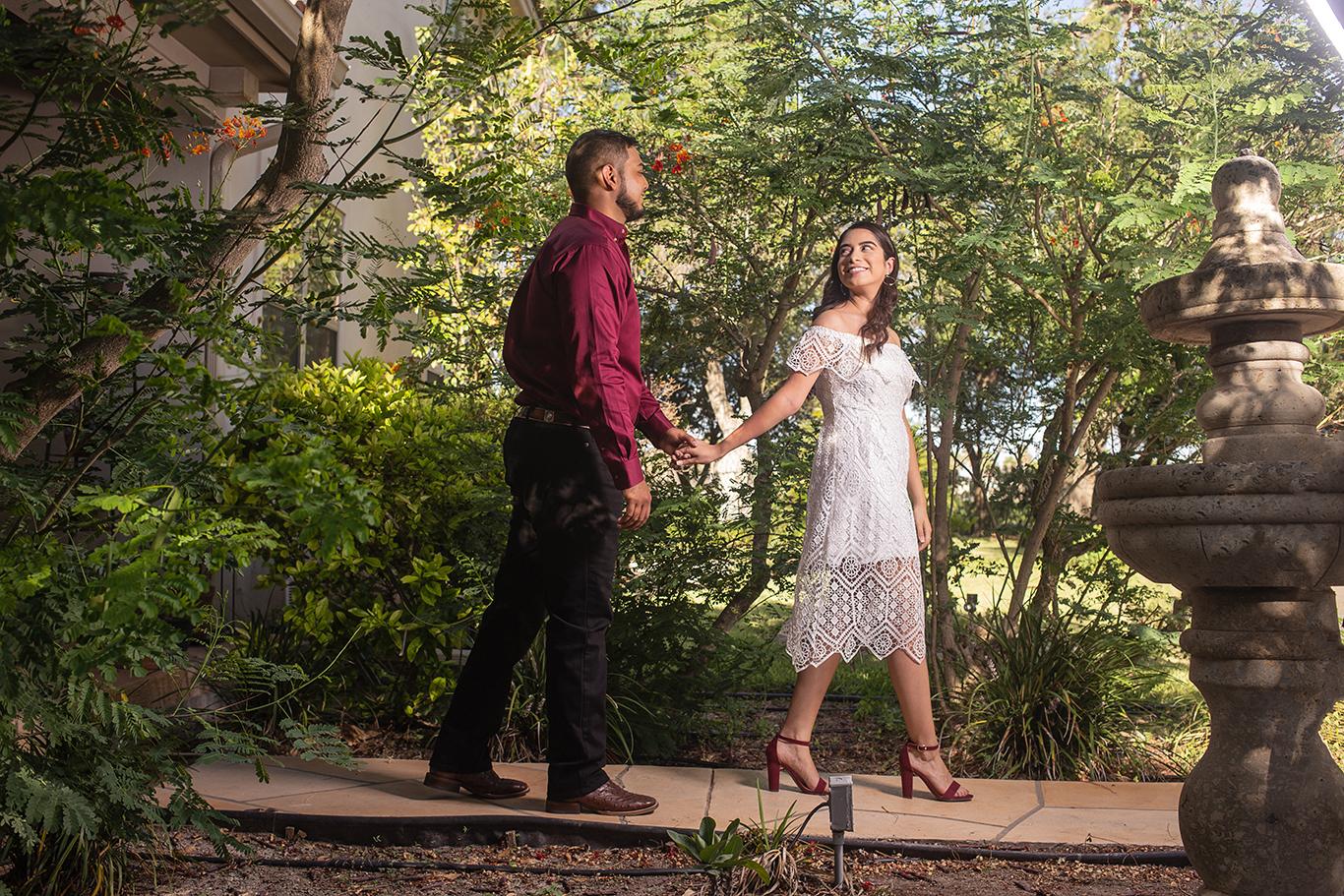 engagement portrait walking pose