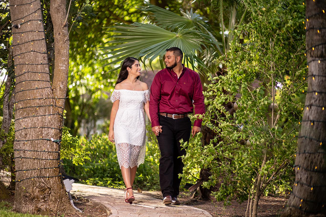 engagement photo shoot walking pose
