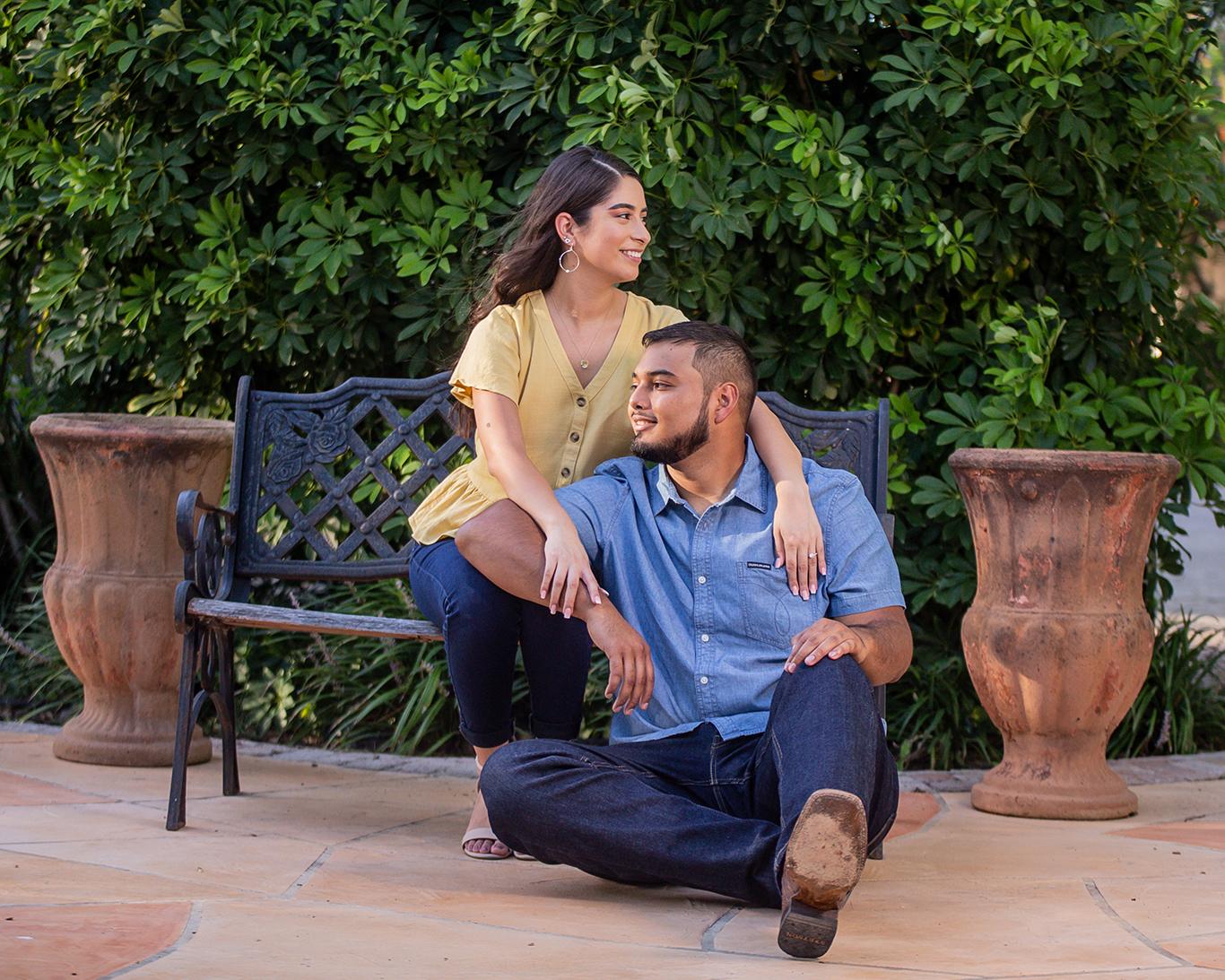 engagement photo shoot couple sitting donna texas