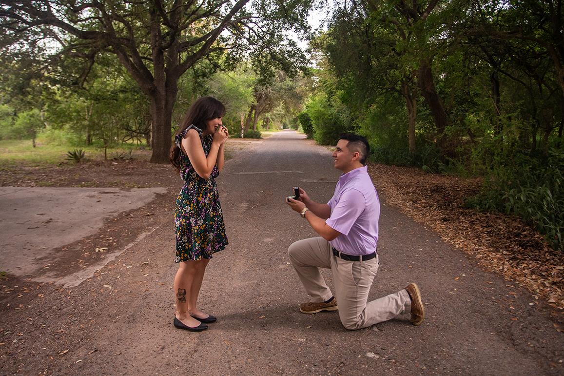 man proposing at estero llano grande state park