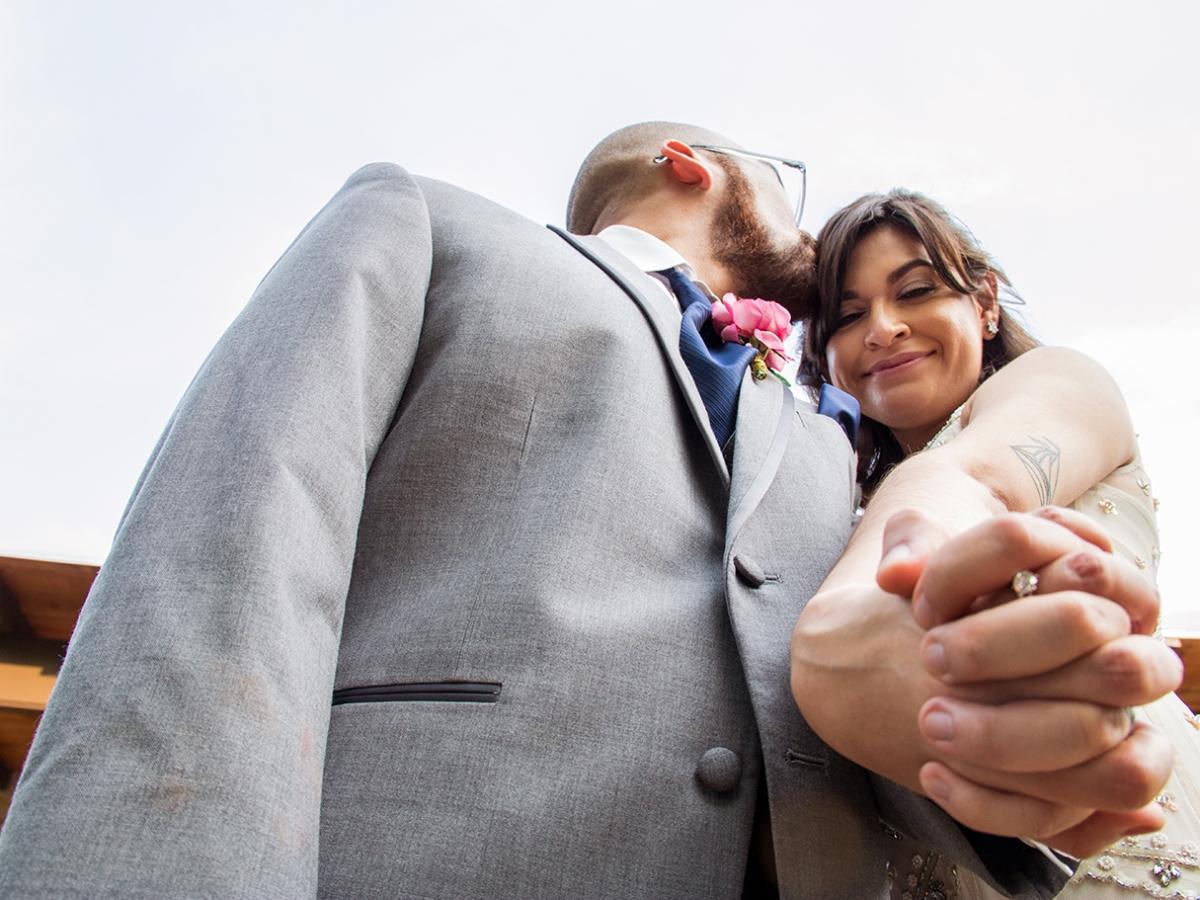low angle bride groom photo
